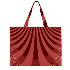 Vermilion Stripes Zipper Large Tote Bag by SpinnyChairDesigns