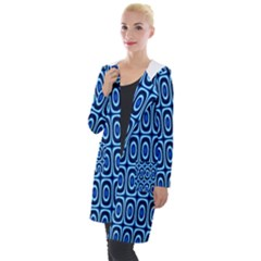 Abstract Blue Circles Mosaic Hooded Pocket Cardigan by SpinnyChairDesigns
