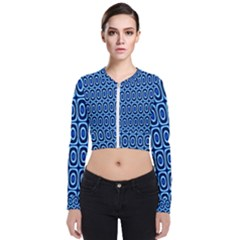 Abstract Blue Circles Mosaic Long Sleeve Zip Up Bomber Jacket