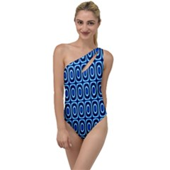 Abstract Blue Circles Mosaic To One Side Swimsuit by SpinnyChairDesigns