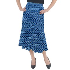 Abstract Blue Circles Mosaic Midi Mermaid Skirt