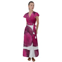 Fun Fuschia Flutter Sleeve Maxi Dress