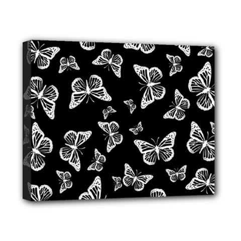 Black And White Butterfly Pattern Canvas 10  X 8  (stretched) by SpinnyChairDesigns