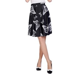 Black And White Butterfly Pattern A-line Skirt