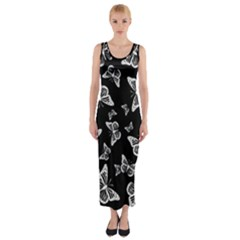 Black And White Butterfly Pattern Fitted Maxi Dress by SpinnyChairDesigns