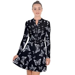 Black And White Butterfly Pattern Long Sleeve Panel Dress