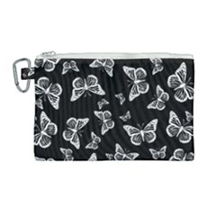 Black And White Butterfly Pattern Canvas Cosmetic Bag (large) by SpinnyChairDesigns