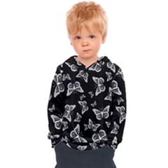 Black And White Butterfly Pattern Kids  Overhead Hoodie by SpinnyChairDesigns