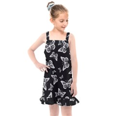 Black And White Butterfly Pattern Kids  Overall Dress