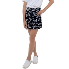 Black And White Butterfly Pattern Kids  Tennis Skirt