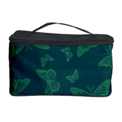 Midnight Green Butterflies Pattern Cosmetic Storage