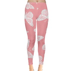 Pink And White Butterflies Leggings