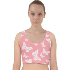 Pink And White Butterflies Velvet Racer Back Crop Top