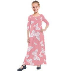 Pink And White Butterflies Kids  Quarter Sleeve Maxi Dress by SpinnyChairDesigns