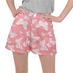 Pink And White Butterflies Ripstop Shorts