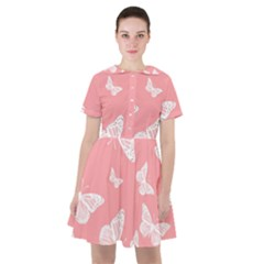 Pink And White Butterflies Sailor Dress