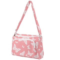 Pink And White Butterflies Front Pocket Crossbody Bag