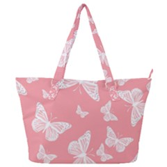Pink And White Butterflies Full Print Shoulder Bag