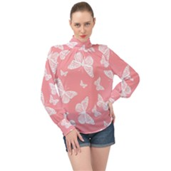 Pink And White Butterflies High Neck Long Sleeve Chiffon Top