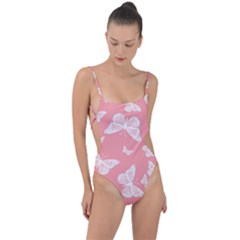 Pink And White Butterflies Tie Strap One Piece Swimsuit