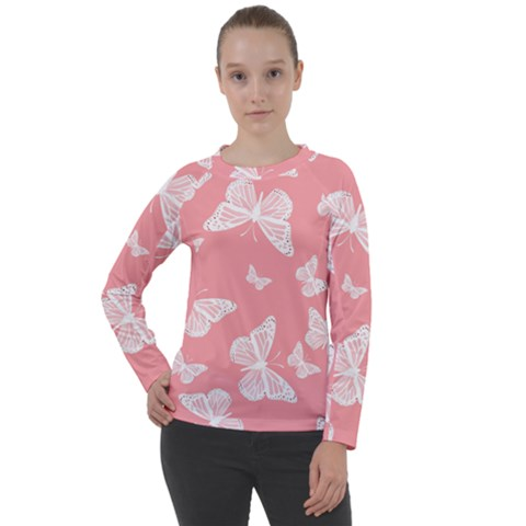 Pink And White Butterflies Women s Long Sleeve Raglan Tee by SpinnyChairDesigns