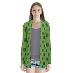 Green Four Leaf Clover Pattern Drape Collar Cardigan