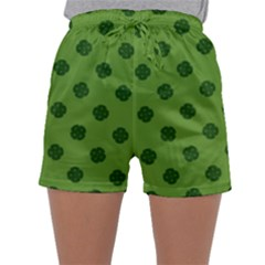 Green Four Leaf Clover Pattern Sleepwear Shorts by SpinnyChairDesigns