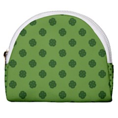 Green Four Leaf Clover Pattern Horseshoe Style Canvas Pouch