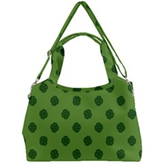 Green Four Leaf Clover Pattern Double Compartment Shoulder Bag by SpinnyChairDesigns