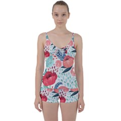 Floral  Tie Front Two Piece Tankini by Sobalvarro
