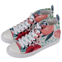 Floral  Women s Mid-top Canvas Sneakers by Sobalvarro