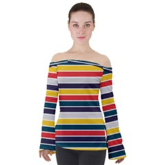 Horizontal Colored Stripes Off Shoulder Long Sleeve Top by tmsartbazaar