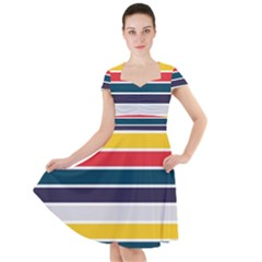 Horizontal Colored Stripes Cap Sleeve Midi Dress by tmsartbazaar
