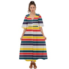 Horizontal Colored Stripes Kimono Sleeve Boho Dress by tmsartbazaar