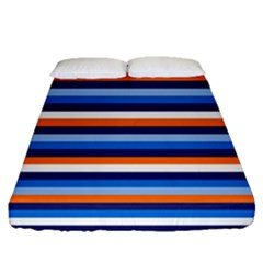 Ocean Blue Stripes Fitted Sheet (queen Size)