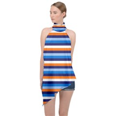 Ocean Blue Stripes Halter Asymmetric Satin Top by tmsartbazaar