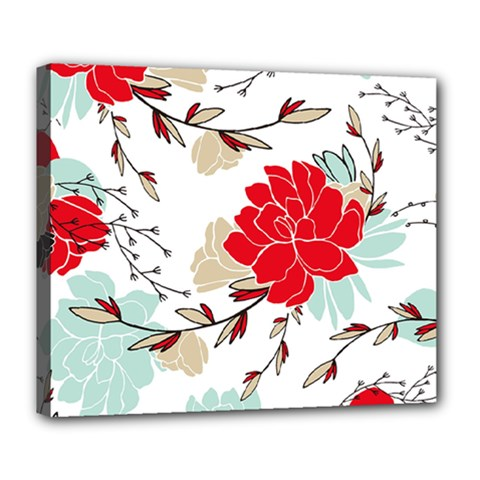 Floral Pattern  Deluxe Canvas 24  X 20  (stretched)
