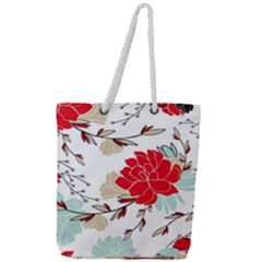 Floral Pattern  Full Print Rope Handle Tote (large) by Sobalvarro