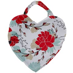 Floral Pattern  Giant Heart Shaped Tote by Sobalvarro