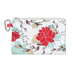 Floral Pattern  Canvas Cosmetic Bag (large) by Sobalvarro