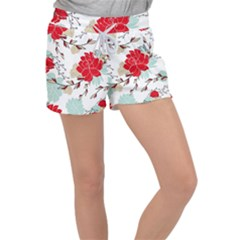 Floral Pattern  Velour Lounge Shorts by Sobalvarro