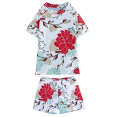 Floral Pattern  Kids  Swim Tee And Shorts Set by Sobalvarro