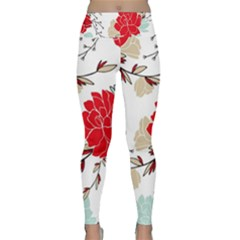 Floral Pattern  Lightweight Velour Classic Yoga Leggings by Sobalvarro