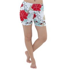 Floral Pattern  Lightweight Velour Yoga Shorts by Sobalvarro