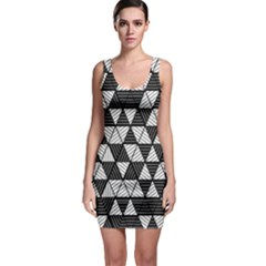 Black And White Triangles Pattern Bodycon Dress by SpinnyChairDesigns