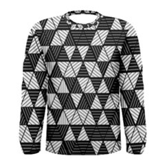 Black And White Triangles Pattern Men s Long Sleeve Tee by SpinnyChairDesigns