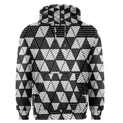 Black And White Triangles Pattern Men s Core Hoodie by SpinnyChairDesigns