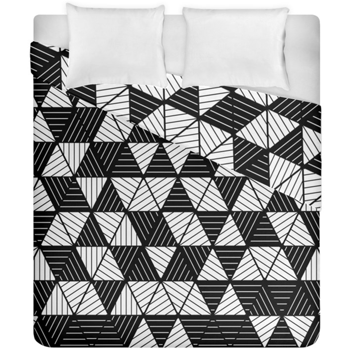 Black and White Triangles Pattern Duvet Cover Double Side (California King Size)