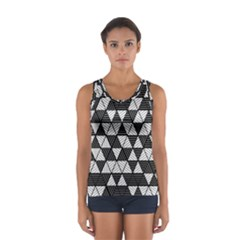 Black And White Triangles Pattern Sport Tank Top