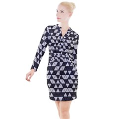 Black And White Triangles Pattern Button Long Sleeve Dress by SpinnyChairDesigns